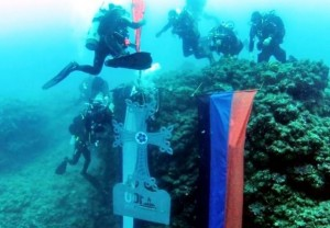 Armenian cross placed underwater in Lebanon
