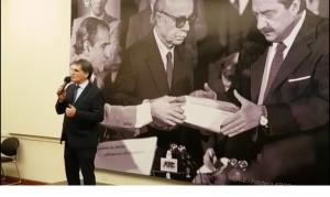 Directivos del Centro Armenio en el homenaje al fiscal Strassera, con la vicepresidenta Michetti y el secretario de Derechos Humanos Avruj