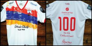 Deportivo Armenio lanzó una camiseta alusiva al Centenario de la República de Armenia