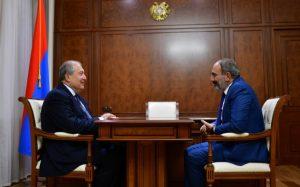 (Español) Reunión entre el presidente, el primer ministro y el presidente del parlamento de Armenia para analizar la situación política