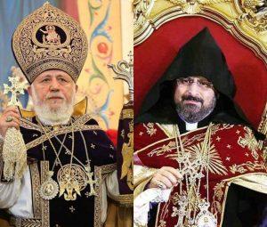 Su Santidad Karekin II felicita al recién electo Patriarca armenio de Constantinopla Sahak Mashalian